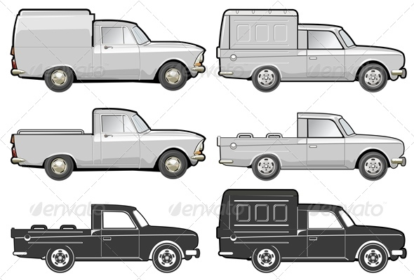 Vector Delivery Van Set - Man-made Objects Objects