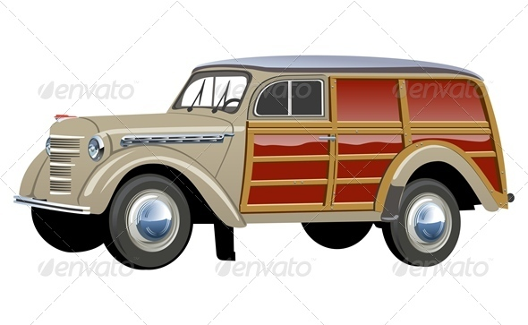 Vector Retro Woody Van - Man-made Objects Objects