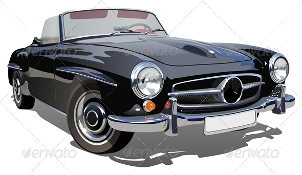 Vector Retro Luxury Car - Man-made Objects Objects