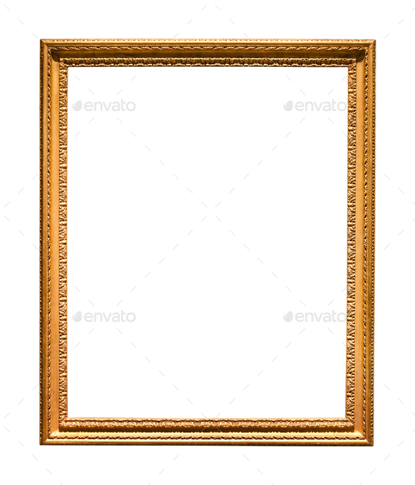 vertical narrow old picture frame isolated - Stock Photo - Images
