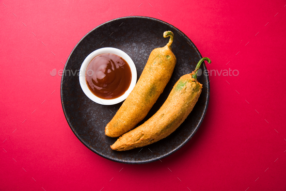 Mirch Pakoda / Chilli Fritter / Mirchi Pakora - Stock Photo - Images