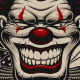 Vector Illustration of a Scary Clown in Tattoo Style