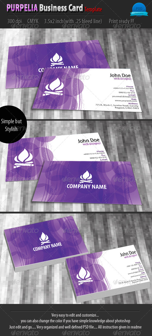 Purplia Business Card Template - Corporate Business Cards