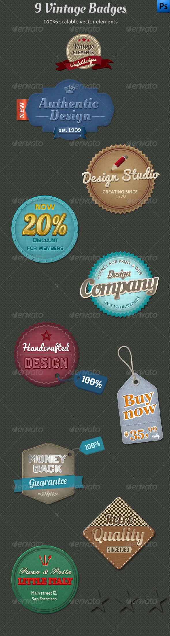 9 Vintage Badges - Badges & Stickers Web Elements