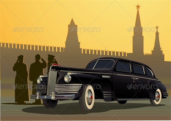 Vector Retro Limousine - Man-made Objects Objects