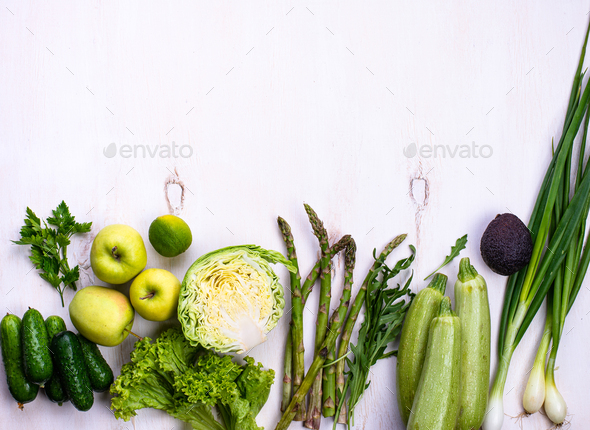 Various green vegetables and fruits - Stock Photo - Images