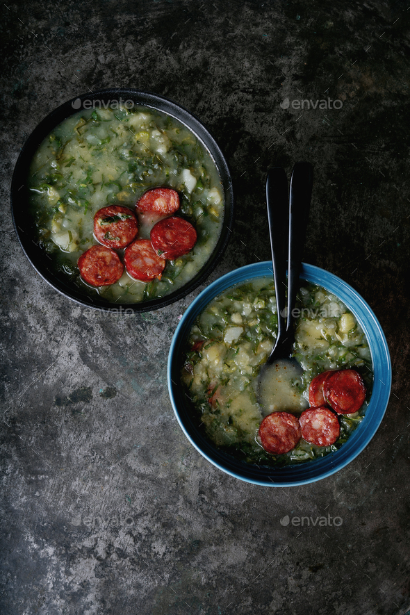 Caldo Verde. Traditional Portuguese Soup - Stock Photo - Images