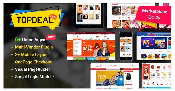 TopDeal - MarketPlace | Multi Vendor Responsive OpenCart 3 & 2.3 Theme with Mobile-Specific Layouts