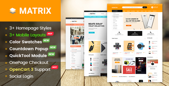Matrix - Multipurpose eCommerce Marketplace OpenCart 3 Theme With Mobile-Specific Layouts