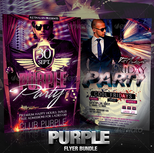 Purple Flyer Bundle - Clubs & Parties Events