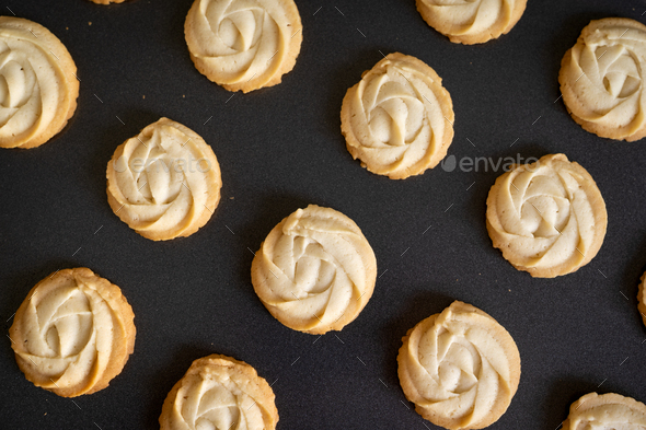 Homemade butter cookies in baking tray - Stock Photo - Images
