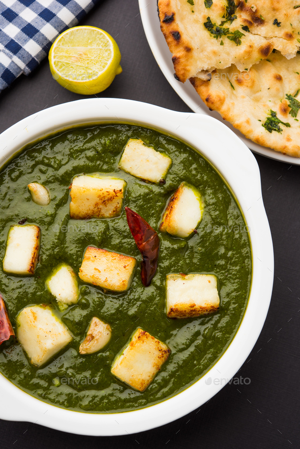 Indian style Palak Paneer Or Spinack Cottage Cheese Curry - Stock Photo - Images