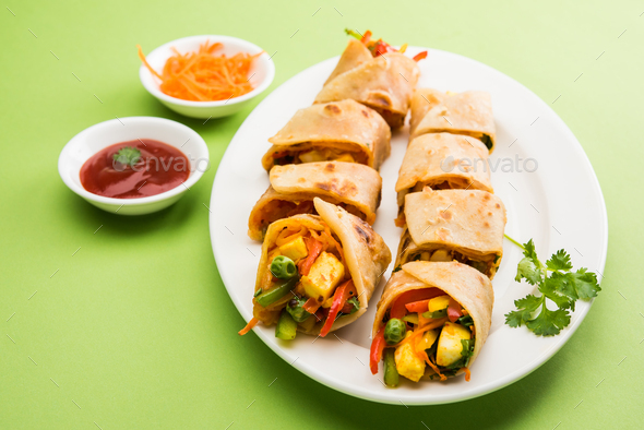 Veg Spring Roll / Chapati Wrap / Veg Roll - Stock Photo - Images