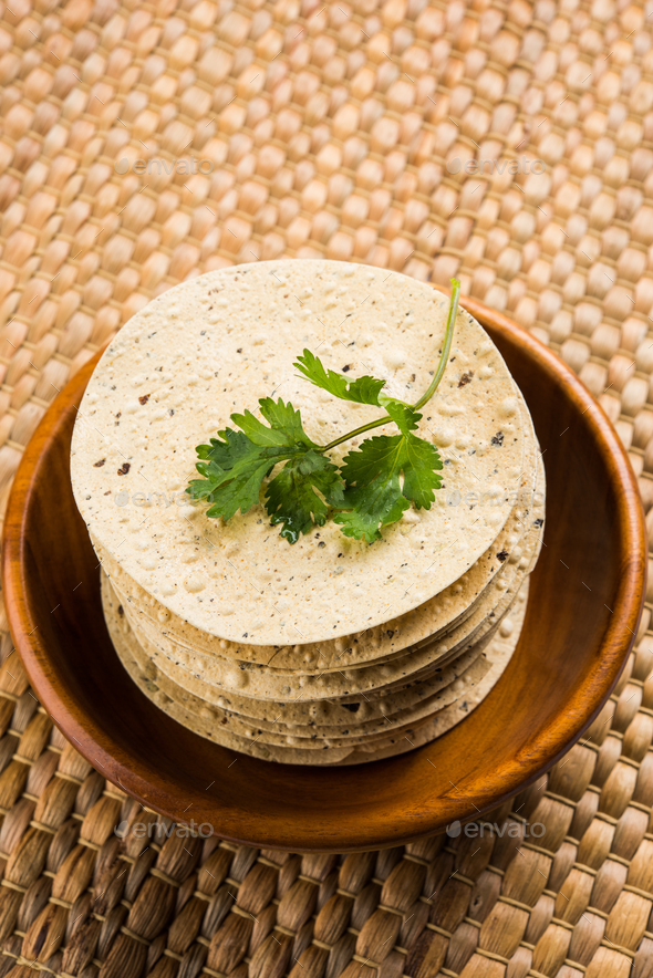 Papadum / Roasted Crackers / Papad - Stock Photo - Images