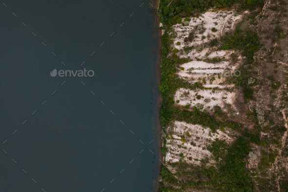 Top view of amazing natural view of lake sore - Stock Photo - Images