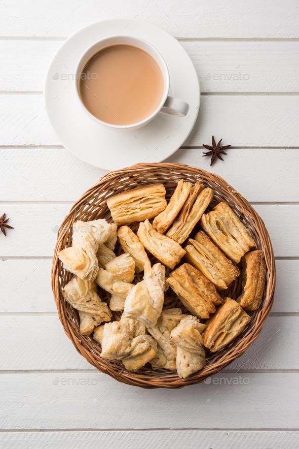 Khari / Kharee / Salty Puff Pastry Tea Time Snacks - Stock Photo - Images