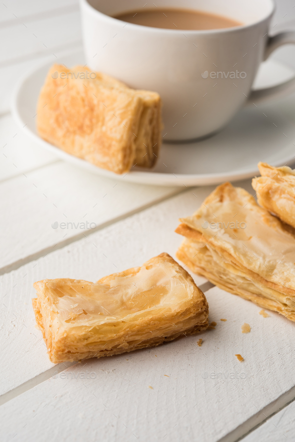Khari / Kharee / Salty Puff Pastry Tea Time Snacks - Stock Photo - Images