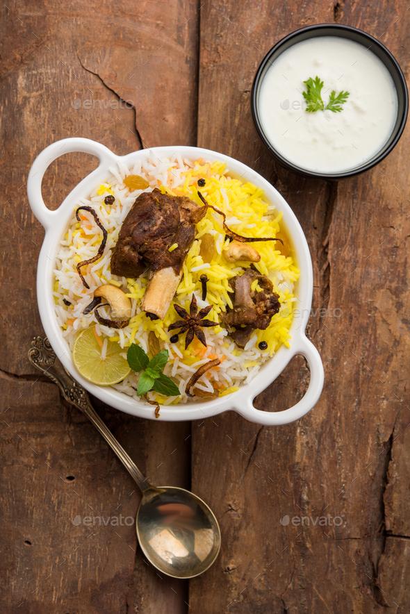 Mutton Biryani / Gosht Biryani - Stock Photo - Images