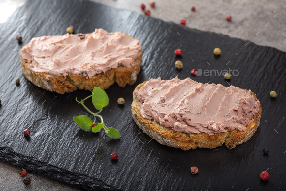 Open sandwiches with pate - Stock Photo - Images