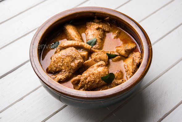 Indian Fish Curry with Rice - Stock Photo - Images
