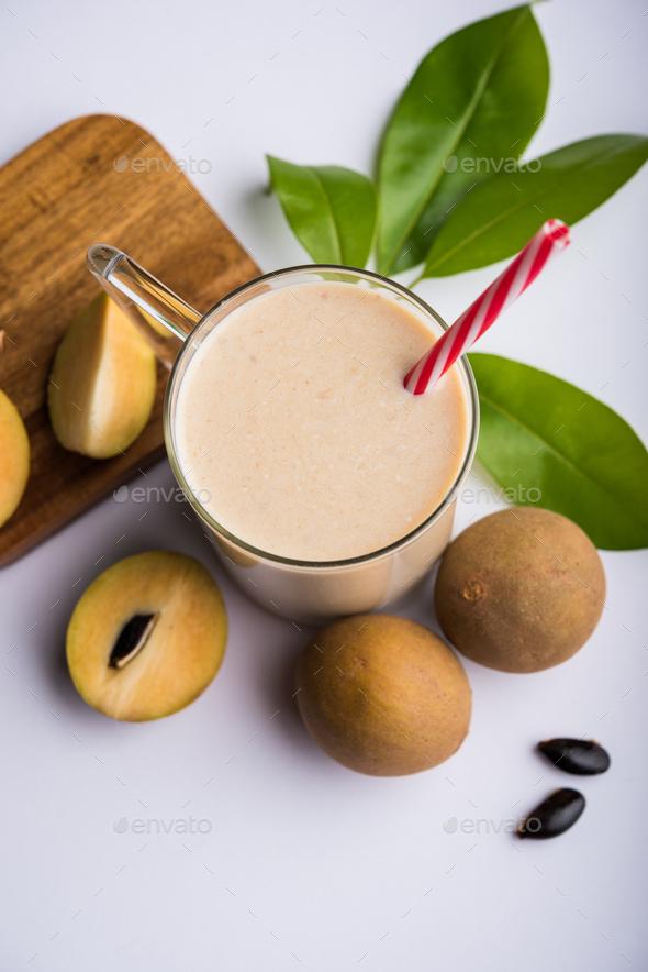 Chikoo Milkshake - Stock Photo - Images