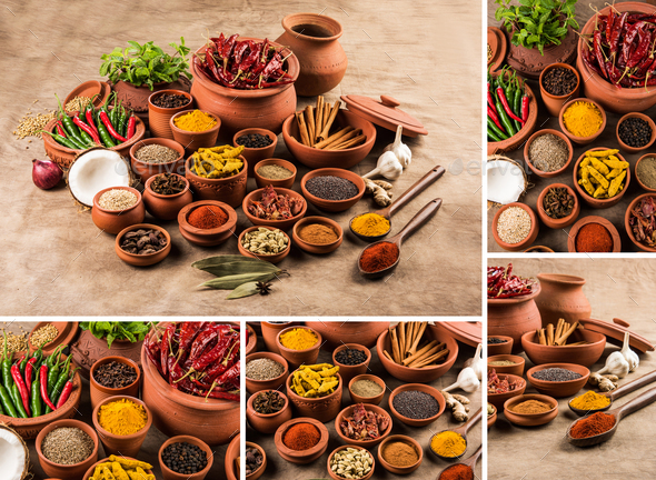 Collage of Indian Spices - Stock Photo - Images