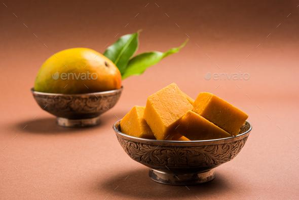 Amba Vadi or Alphonso Mango Burfi - Stock Photo - Images