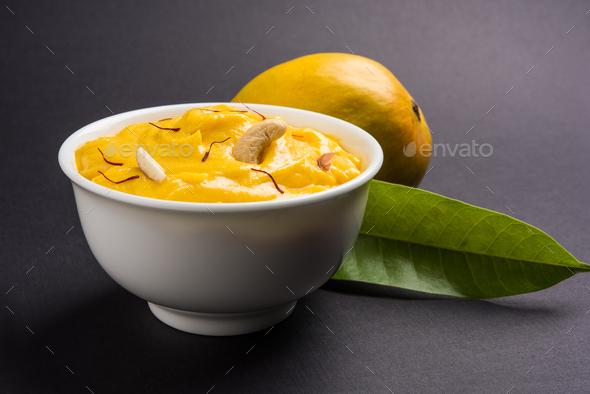 Amrakhand Or Mango Flavoured Shrikhand - Stock Photo - Images