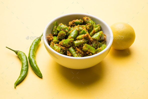 Green Chilli Pickle - Stock Photo - Images