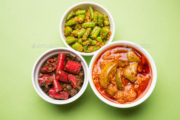 Red/Green Chilli and Mango Pickle - Stock Photo - Images