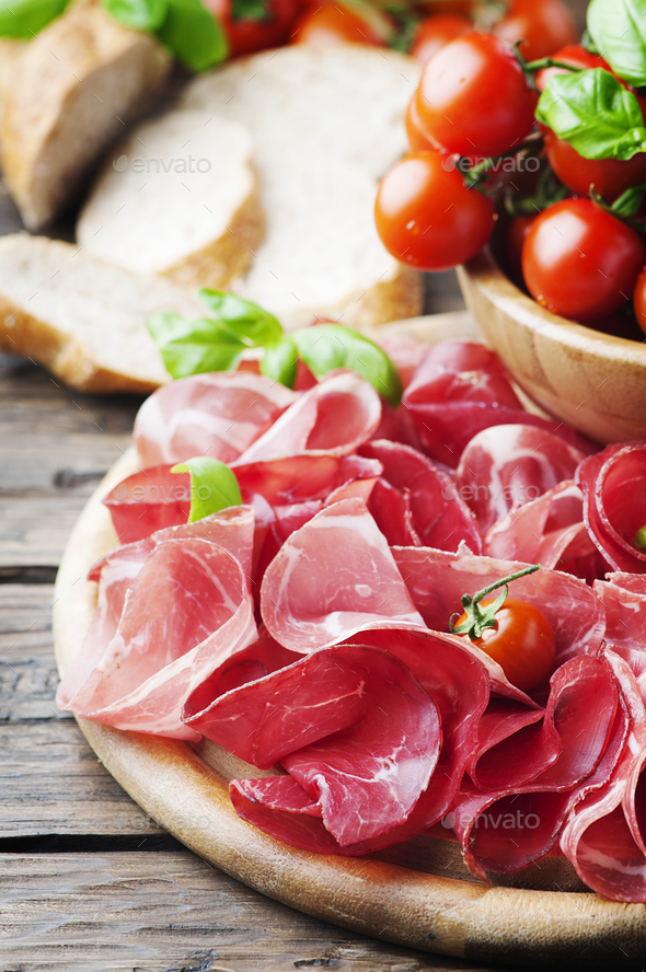 Italian Antipasto with ham and bresaola - Stock Photo - Images