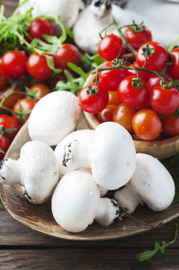 Healthy food with tomato and champignon - Stock Photo - Images
