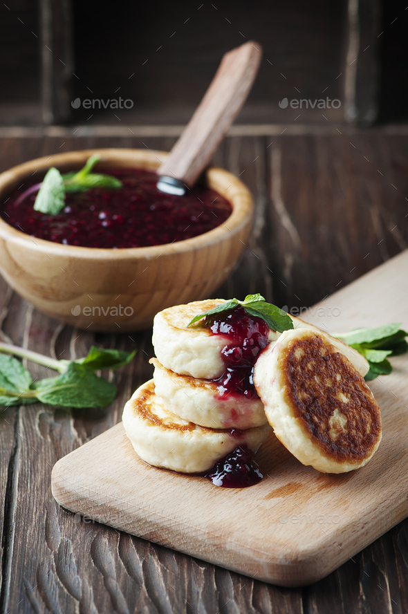 Cottage cheese pancake with raspberry and mint - Stock Photo - Images