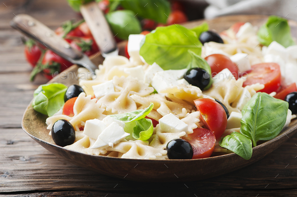 Salad with cold pasta and mozzarella - Stock Photo - Images