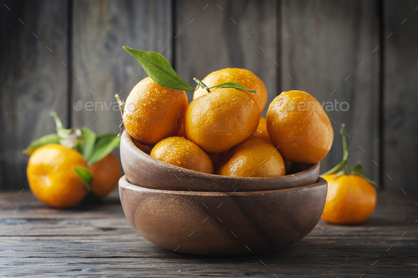 Sweet fresh mandarin on the wooden table - Stock Photo - Images