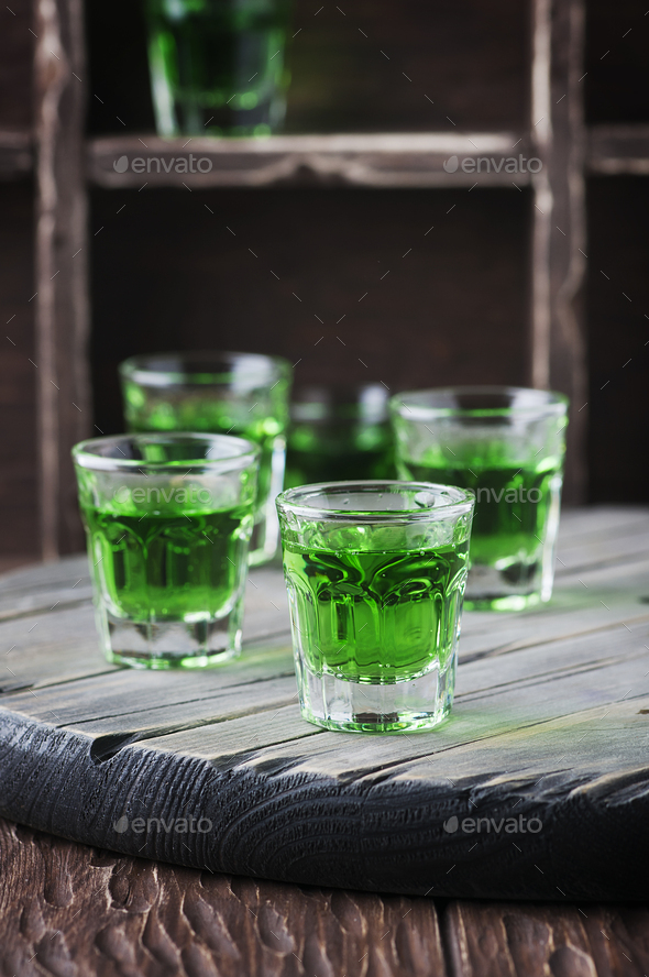 Green sweet cocktai with terragonl - Stock Photo - Images