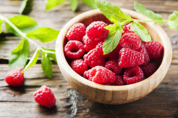 Fresh sweet raspberry on the wooden table - Stock Photo - Images