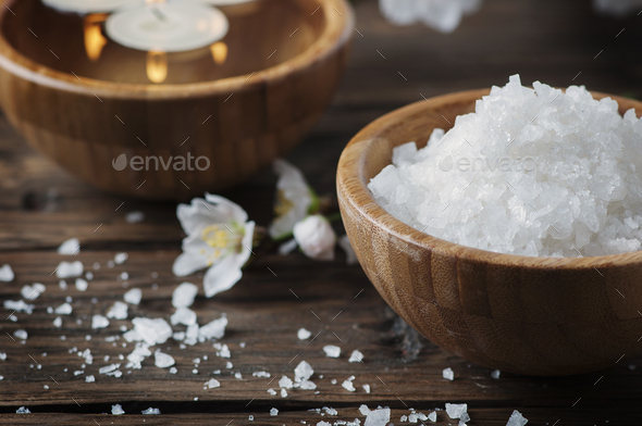 SPA treatment with salt, almond and candles - Stock Photo - Images