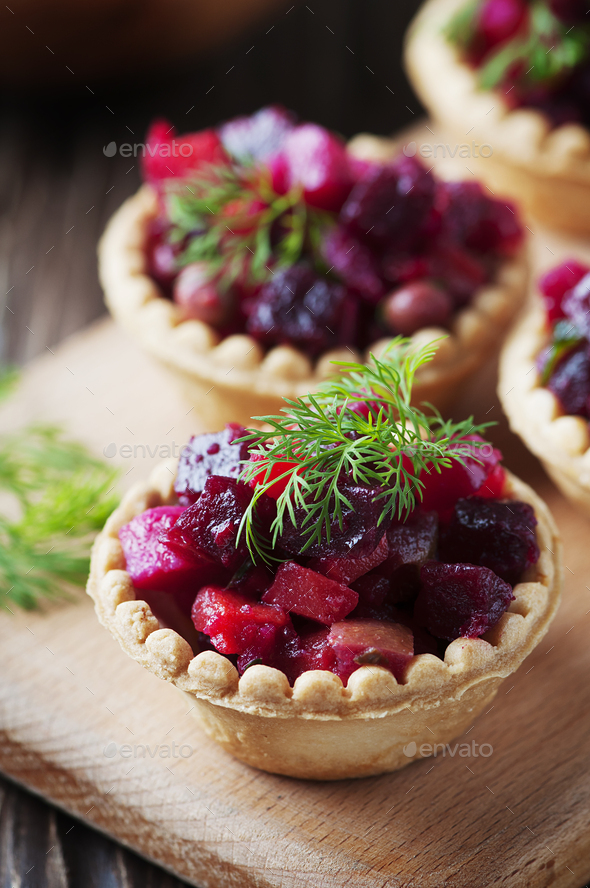 Traditional russian vegan salad with potato and beetroot - Stock Photo - Images
