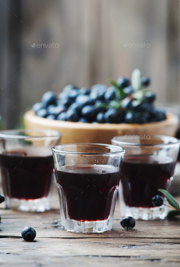 Traditional sardinian liqueur with mirto - Stock Photo - Images