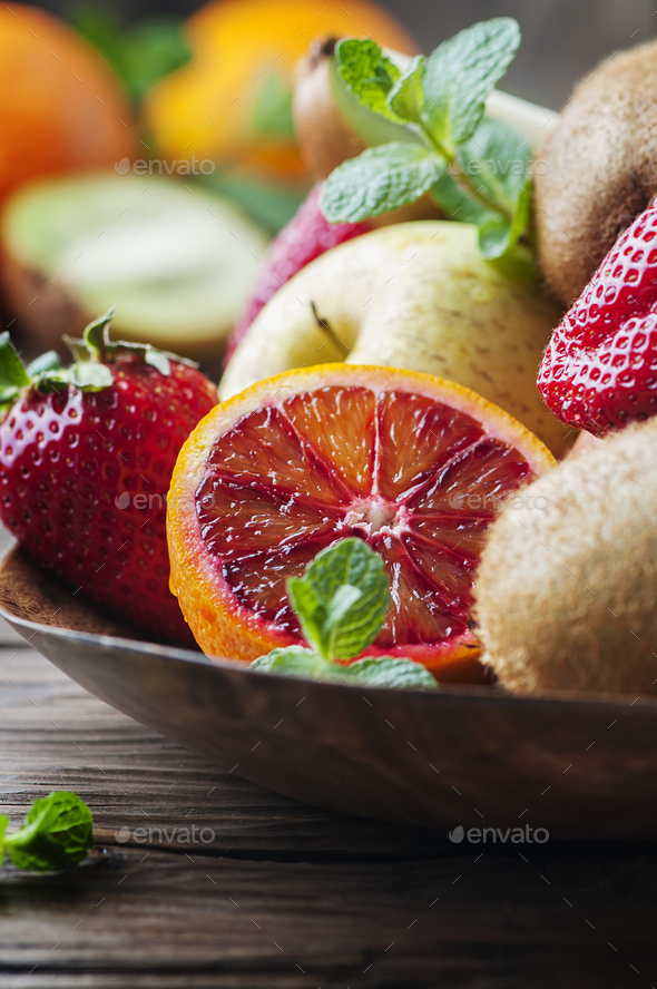 Fresh orange, kiwi, strawberry and apple - Stock Photo - Images