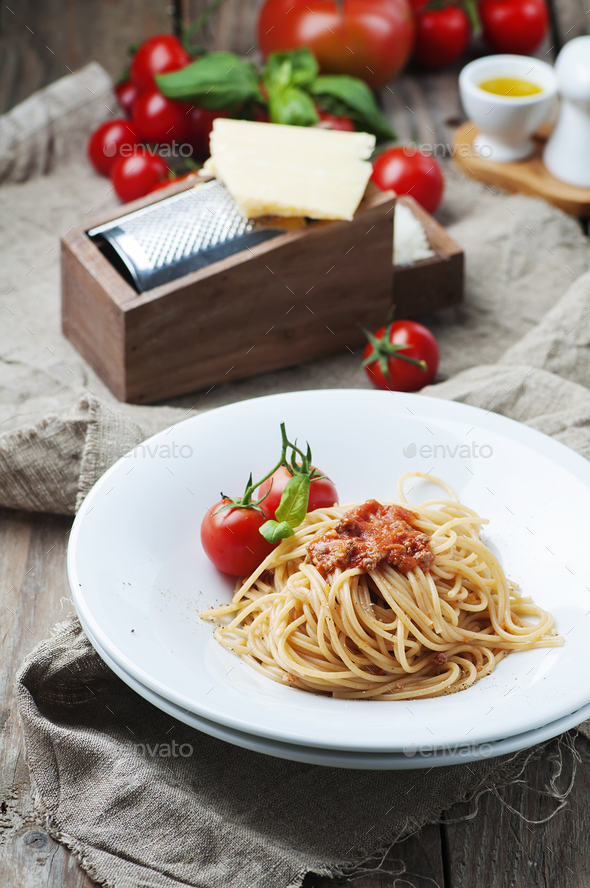 Italian pasta bolognese with meat and tomato - Stock Photo - Images