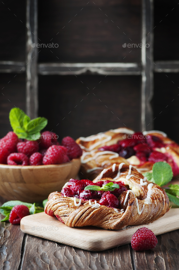 Sweet homemade cake with fresh berry and mint - Stock Photo - Images