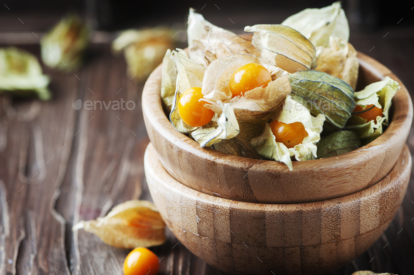 Fresh gooseberry on the vintage table - Stock Photo - Images