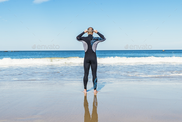 Handsome Swimmer ready to start swimming - Stock Photo - Images