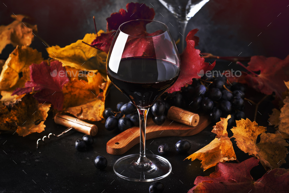 Dry Red wine in wine glass - Stock Photo - Images