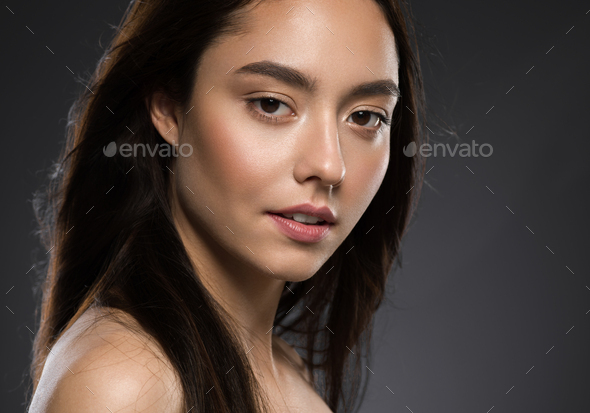 Beautiful Young Model Healthy Skin Smile Face Portrait - Stock Photo - Images