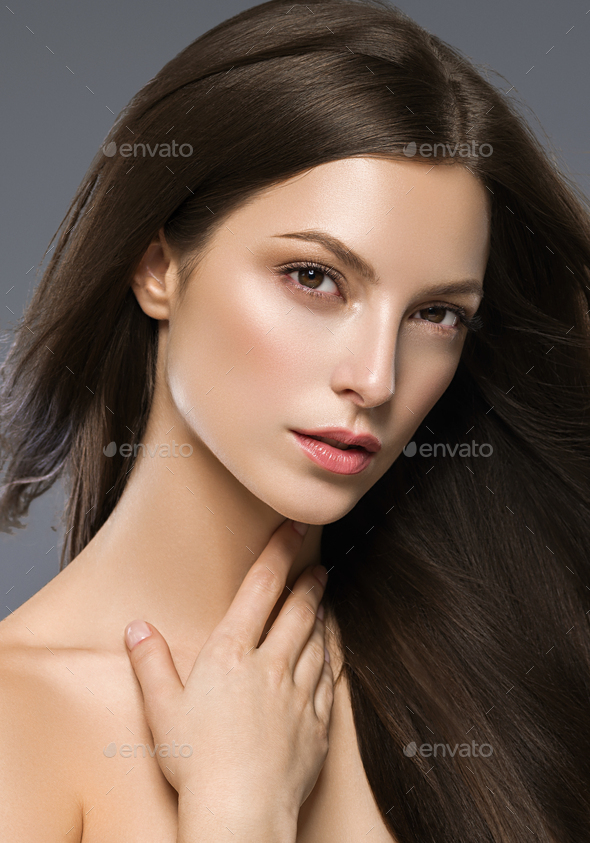 Long Hair Brunette Woman Natural Fashion Make Up - Stock Photo - Images