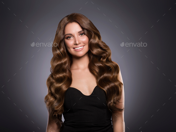 Beautiful hair woman curly hairstyle female - Stock Photo - Images