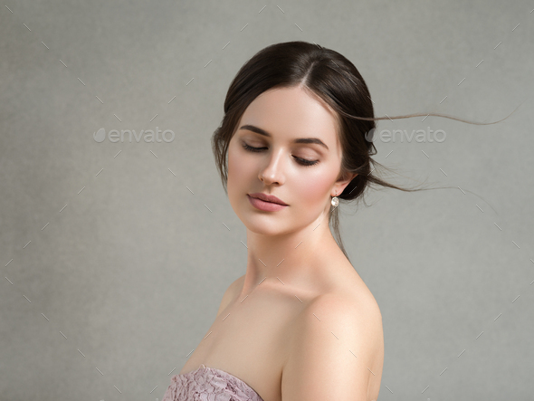 Beautiful woman portrait beauty hair and skin makeup young model - Stock Photo - Images